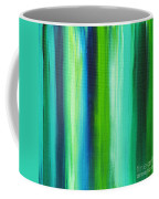 Abstract Art Original Textured Soothing Painting Sea Of Whimsy Stripes I By Madart Coffee Mug by Megan Duncanson