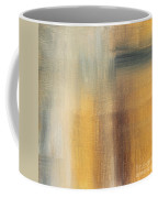 Abstract Golden Yellow Gray Contemporary Trendy Painting Fluid Gold Abstract II By Madart Studios Coffee Mug