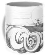 Abstract Landscape Art Black And White Yoga Zen Pose Between The Lines By Romi Coffee Mug