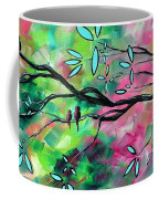 Abstract Landscape Bird And Blossoms Original Painting Birds Delight By Madart Coffee Mug by Megan Duncanson