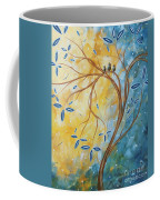 Abstract Landscape Bird Painting Original Art Blue Steel 2 By Megan Duncanson Coffee Mug
