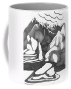 Abstract Landscape Rock Art Black And White By Romi Coffee Mug
