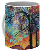 Abstract Landscape Tree Art Colorful Gold Textured Original Painting Colorful Inspiration By Madart Coffee Mug