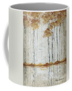 Abstract Neutral Landscape Pond Reflection Painting Mystified Dreams I By Megan Ducanson Coffee Mug