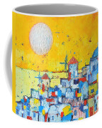 Abstract Santorini - Oia Before Sunset Coffee Mug by Ana Maria Edulescu