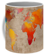 Abstract World Map - Rainbow Passion - Digital Painting Coffee Mug