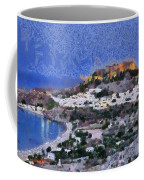 Acropolis Village And Beach Of Lindos Coffee Mug