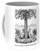 Adam And Eve Sit Back To Back Against A Tree Coffee Mug