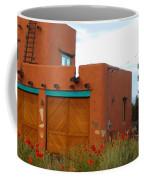 Adobe House And Poppies Coffee Mug