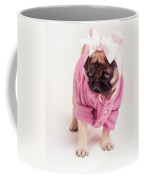 Adorable Pug Puppy In Pink Bow And Sweater Coffee Mug by Edward Fielding