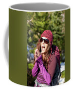 Adult Woman Laughing Out Loud While Coffee Mug