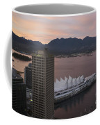 Aerial View Of Canada Place At Sunse Coffee Mug