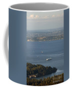 Aerial View Of Ferry Boats On Puget Sound Leaving Bainbridge Isl Coffee Mug