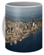 Aerial View Of Seattle Skyline With Elliott Bay And Ferry Boat Coffee Mug
