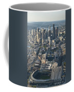 Aerial View Of Seattle Skyline With The Pro Sports Stadiums Coffee Mug