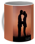 Affectionate Couple At Sunset In Profile  Coffee Mug