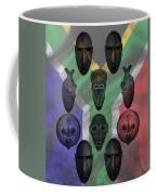 Africa Flag And Tribal Masks Coffee Mug
