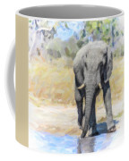 African Elephant At Waterhole Coffee Mug