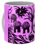 African Huts Pink Coffee Mug