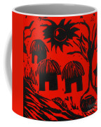 African Huts Red Coffee Mug by Caroline Street
