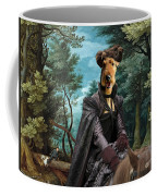 Airedale Terrier Art Canvas Print - Forest Landscape With Deer Hunting And Noble Lady Coffee Mug