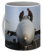 Airmen Clean The Canopy Of An Fa-18f Coffee Mug by Stocktrek Images