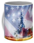 Battleship Alabama And Flag Coffee Mug