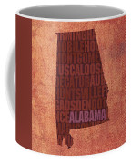 Alabama Word Art State Map On Canvas Coffee Mug