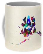Alaska Typographic Watercolor Map Coffee Mug