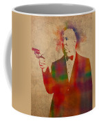 Alfred Hitchcock Watercolor Portrait On Worn Parchment Coffee Mug