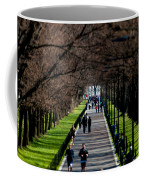 Alley Of Trees With Runners And Joggers Coffee Mug