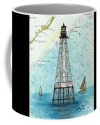Alligator Reef Lighthouse Fl Keys Nautical Map Cathy Peek Coffee Mug
