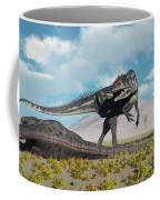 Allosaurus Dinosaurs Approaching Coffee Mug