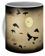 Almost Full Moon And Crows Coffee Mug