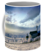 Alpine Scenery With Church In The Frosty Morning Coffee Mug