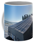 Aluminum Fishing Boat And Boots Drying On Fence Coffee Mug