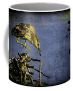 American Bittern With Brush Calligraphy Lingering Mind Coffee Mug