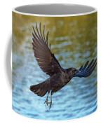 American Crow Flying Over Water Coffee Mug