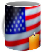 American Flag And Candle Coffee Mug by Olivier Le Queinec