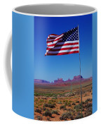 American Flag In Monument Valley Coffee Mug