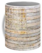 American Flag On Distressed Wood Beams White Yellow Gray And Brown Flag Coffee Mug