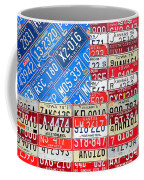 American Flag Recycled License Plate Art Coffee Mug