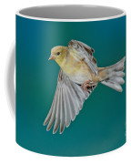 American Goldfinch Hen In Flight Coffee Mug