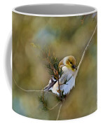American Goldfinch On A Cedar Twig - Digital Paint Coffee Mug