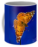 American Lady Butterfly Blue Square Coffee Mug
