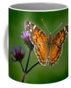 American Lady Butterfly With Green Background Coffee Mug