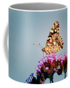 American Painted Lady Butterfly Blue Background Coffee Mug