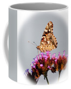 American Painted Lady Butterfly White Square Coffee Mug