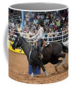 American Rodeo Female Barrel Racer Dark Horse I Coffee Mug by Sally Rockefeller