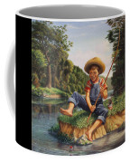 Americana - Country Boy Fishing In River Landscape - Square Format Image Coffee Mug